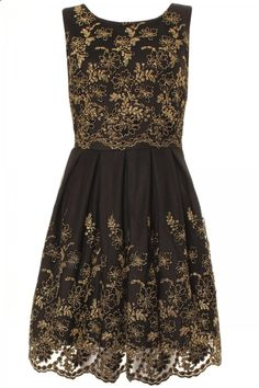 black and gold brocade glitter pleated skated dress