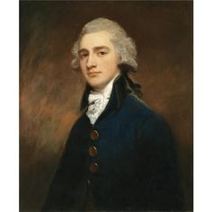 GEORGE ROMNEY 1734-1802 1734 - 1802 PORTRAIT OF SIR GEORGE GUNNING BT (1753-1825) half length, standing, wearing a dark blue velvet coat, lace cravat and powdered wig oil on canvas 74 by 61.5 cm., 29 by 24¼ in.