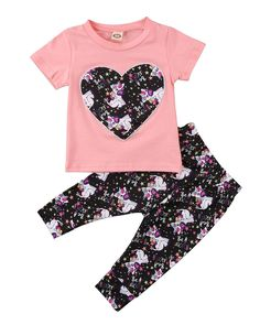 Newborn Baby Girl Short Sleeve Sweet Heart Top Printed Long Pants Outfit set Pink 03M -- Visit the image link more details. (This is an affiliate link) #BabyGirlClothesCollection