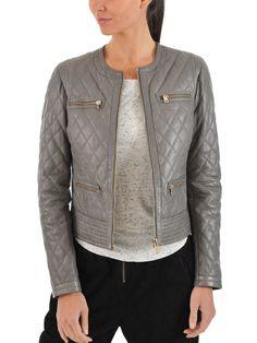 Women Stylish slim fit front zip Lambskin Bomber Biker leather jacket WJ336 #Handmade #BasicJacket