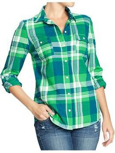 Womens Plaid Flannel Shirts $11.97 old Navy