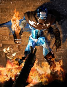 Promotional art of Raziel attacking vampires with a torch.