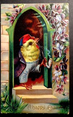 DRESSED CHICK IN FEZ SMOKES PIPE Fantasy Easter Postcard 1910