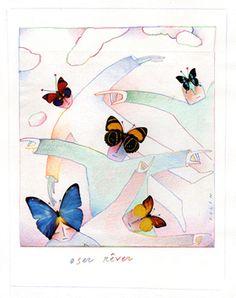 Folon Jean Michel - Oser rêver Art Français, Cat Names, Art Graphique, Oeuvre D'art, Art Pictures, Les Oeuvres, Collages, Affirmations, Butterfly