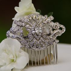 Stunning art deco rhinestone hair comb #bridal hair comb