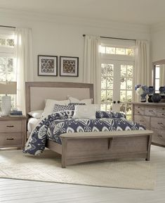 super in love with this coastal bedroom upholstered and distressed wood bed with upholstered footboard bedroom set light wood light