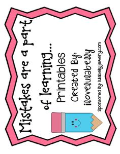 FREE Mistakes are a Part of Learning Printables from ilovelulabelly on TeachersNotebook.com -  (3 pages)  - Freebie