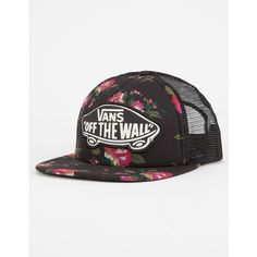 Vans Beach Girl Womens Trucker Hat ($20) ❤ liked on Polyvore featuring accessories, hats, floral snapback hats, 5-panel hat, mesh back snapback hats, vans hats and beach hats
