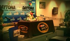 After finishing second in the Daytona 500 on Feb. 28, Dale Earnhardt Jr. visits with media at Daytona International Speedway.