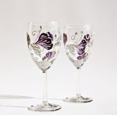 Hand Painted Wine Glasses Flowers | Wine Glasses Hand Painted Purple Silver Flowers Swarovski Crystals Set ...