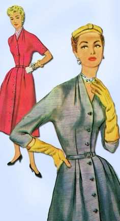 1950s Misses Simplicity Sewing Pattern 4888 Uncut Misses Afternoon Dress Sz 39 B