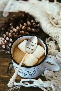 Baby It's Cold Outside hand stamped spoon, $17. I love the little snowflake detail! #christmas #holiday #gift #cocoa #coffeelover #spoon #promoted #etsy