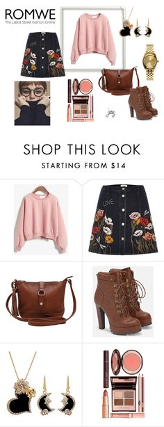 """""""Romwe Round Neck Crop Pink Sweatshirt"""" by justjacy ❤ liked on Polyvore featuring River Island, M&Co, JustFab, Charlotte Tilbury, Nixon, romwe and contestentry"""