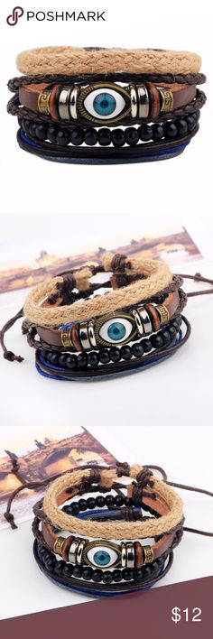 Fashion Jewelry Bracelets Evil Eye Assorted Leather Bracelet Braid Hemp Cord  Feature: fashion, vintage, handmade  Material: leather, coconut beads, hemp cord, braid belt  Specifications: 6cm in diameter, 18-20cm in length, adjustable  Makes a great gift for friend and family or self purchase  Birthday gift, Christmas gift, Valentine's gift and etc Jewelry Bracelets