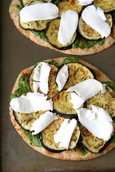 Vegetarian Naan Pizza with Eggplant & Cilantro Jalapeno Pesto | cookincanuck.com #pizza #vegetarian #MeatlessMonday
