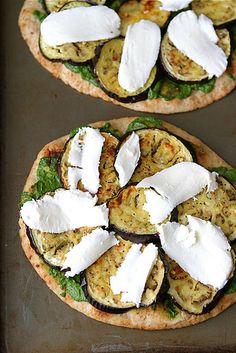 Vegetarian Naan Pizza with Eggplant & Cilantro Jalapeno Pesto | cookincanuck.com #pizza #vegetarian #MeatlessMonday