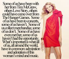 I was with her after her speak now album had come out, and I had heard a few of her songs on the radio, but the first song I loved was Our Song.