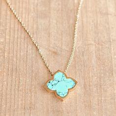 Fine Floret Pendant Necklace Turquoise
