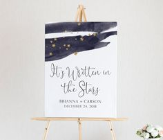 Written in the Stars Wedding Welcome Sign - Celestial Wedding Signage - Moon and Stars Wedding - Custom Wedding Welcome Printable - Stars Moon Wedding, Celestial Wedding, Star Wedding, Floral Wedding, Dream Wedding, Boy Or Girl Sign, Printable Star, Wedding Welcome Signs, Online Print Shop
