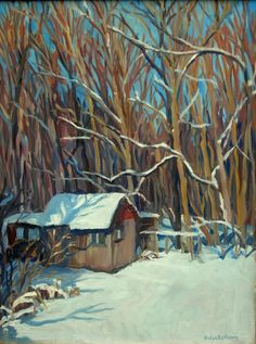 Oil Painting Landscape, Little Shed, Big Snow. Original Oil on Canvas, Large Winter Plein Air Impressionist Painting