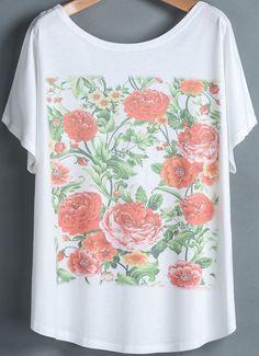 White Short Sleeve Peony Print Loose T-Shirt