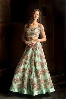Love the Organza Lehenga Choli from BenzerWorld!