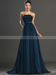 Strapless Chiffon A Line Prom Dress with Embellished Bodice