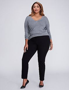 An ankle-length pant is incredibly versatile (especially in a cotton blend fabric). Interior elastic waistband for a secure and comfortable fit. Four welted pockets. Double bar & slide and zip fly closure with inner button. Belt loops. <br /> <br /> <strong>FIT: </strong>Ashley (For hourglass shapes that are very curvy through the hip and thigh.) <br /> <strong>LEG SHAPE: </strong>Ankle (Tapered from the hip to just above the knee.)<br /> <strong>FABRIC: </strong>Smart Stretch (Ultra flex…