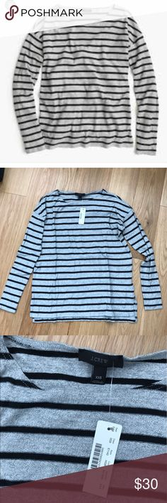 J crew deck striped tee New with tag but needs steaming.  Heather gray black color.  Loose fit.  No trades.  Price firm. J. Crew Tops