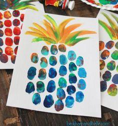 ❤ Nyári ananász festmény ujjlenyomatokkal - kreatív festmény ❤Mindy -  kreatív ötletek és dekorációk minden napra