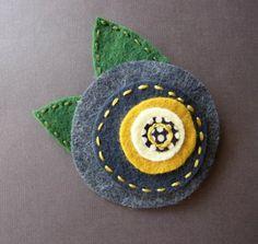 Charcoal Mustard Blooming Flower - felt pin (soleilgirl on etsy)
