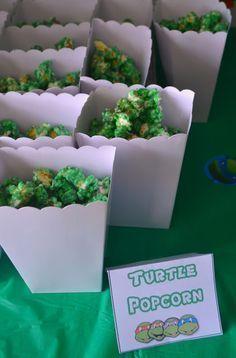 Ninja Turtle Popcorn Recipe, easy popcorn recipe, ninja turtle party ideas, TMNT party, Teenage Mutant Ninja Turtle birthday party,