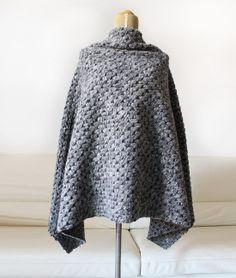 sweater poncho, gray 100% wool poncho, christmas gift idea