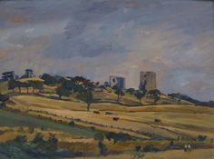 #Alan #Sorrell: #Hadleigh #Castle from the West, c. 1936  Unframed  #Signed and #inscribed with title on reverse  #Oilonpanel #oilpainting #painting #modernart #Britishart #landscape #art #llfa