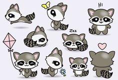 Premium Vector Clipart Kawaii Raccoons by LookLookPrettyPaper