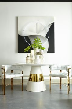 Buy Kelly Hoppen by Resource Decor Band Side Table/Dining Table Brass Fibreglass online with Houseology's Price Promise. Full Kelly Hoppen By Resource Decor collection with UK & International shipping. Kelly Hoppen Interiors, Dining Room Inspiration, Interior Inspiration, Inspiration Design, White Interior Design, Interior Decorating, Dining Chairs, Dining Table, Dining Rooms