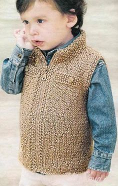 This Pin was discovered by han Knitting Patterns Boys, Sewing Patterns For Kids, Knitting For Kids, Crochet For Kids, Crochet Baby, Baby Pullover, Baby Cardigan, Boys Waistcoat, Crochet Vest Pattern