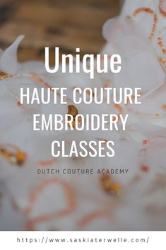 At the Dutch Couture Academy we offer workshops, courses and a full professional training in haute couture embroidery techniques. Please check out our website for more information. Tambour Embroidery, Couture Embroidery, Cross Stitch Embroidery, Embroidery Patterns, Hand Embroidery, Beading Techniques, Embroidery Techniques, Couture Beading, Lesage