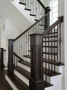 Iron Balusters Stair Solution Residential and Commercial Designs Stair Railing Ideas balusters Commercial Designs iron Residential Solution stair Stair Handrail, Staircase Remodel, Staircase, Staircase Railings, Staircase Design, Wrought Iron Stairs, House Stairs, Stair Railing Design, Stair Decor