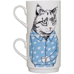 Jimbobart Cat Stacking Tea Mugs (75 AUD) ❤ liked on Polyvore featuring home, kitchen & dining, drinkware, fillers, kitchen, food, mugs, blue, tea-cup and bone china tea mugs