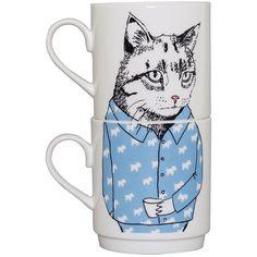 Jimbobart Cat Stacking Tea Mugs found on Polyvore