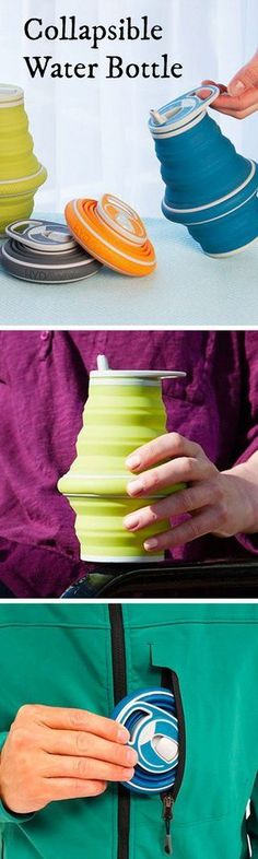 Unfold this water bottle & fill it up when you need a drink. Flatten it when you're done.
