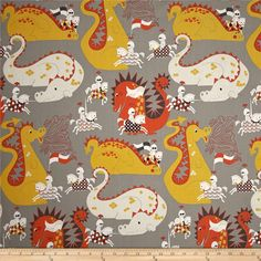 Alexander Henry Monkey's Bizness Knight Meets Dragon Grey from @fabricdotcom  Designed by De Leon Design Group for Alexander Henry, this cotton print fabric is perfect for quilting, apparel and home decor accents. Colors include grey, shades of orange and shades of yellow.