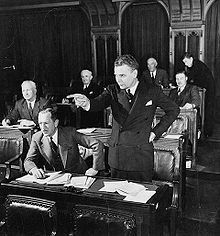 """On March 16, 1950 Diefenbaker, then a Saskatchewan MP, told a public forum why such a law was needed. Individuals' freedoms of religion, press, speech and association are threatened by the state, he said. A Bill of Rights was needed to take a """"forthright stand against discrimination based on colour, creed or racial origin."""" In 1960, as Prime Minister, Diefenbaker successfully introduced the Canadian Bill of Rights, the precursor of the Canadian Charter of Rights and Freedoms"""