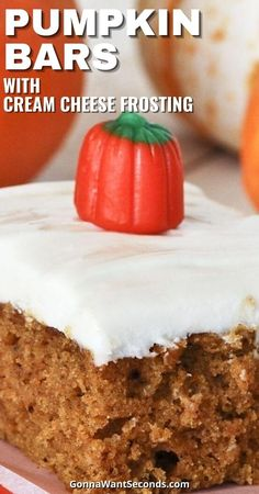 *NEW* These pumpkin bars with cream cheese frosting are rich moist and cakey in all their homemade frosted glory with just the right amount of fall spices. #Pumpkin #PumpkinBars #Fall #Cake Pumpkin Bars, Pumpkin Cookies, Pumpkin Cheesecake, Thanksgiving Desserts, Fall Desserts, No Bake Desserts, Diabetic Desserts, Healthy Dessert Recipes, Delicious Desserts