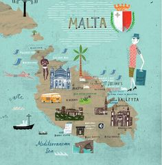 wanderlust map Martin Haake - Map of Malta Malta Map, Malta Gozo, Eurotrip, Travel Maps, Places To Travel, Malta Island, Voyage Europe, Thinking Day, City Maps