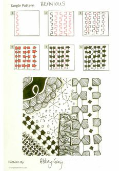 Online instructions for drawing Abbey Gray's Zentangle® pattern: Beanious.