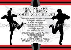 Great Gatsby invitation | Great Gatsby Roaring 20's Flapper Couple Birthday Party Invitation ...