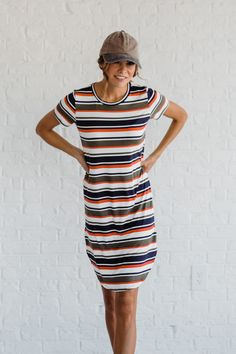 The Strutting My Stripes Olive Tee Shirt Dress is such a fun and comfy dress! This cute tee shirt dress is perfect for the days when you want to look