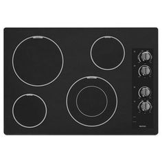 Maytag MEC7430BB 30-in 4-Element Smooth Surface Electric Cooktop (Black)